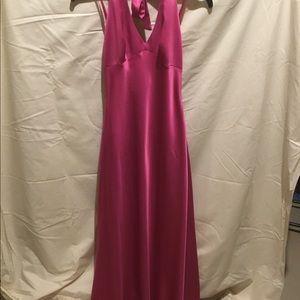 pink satin maxi dress